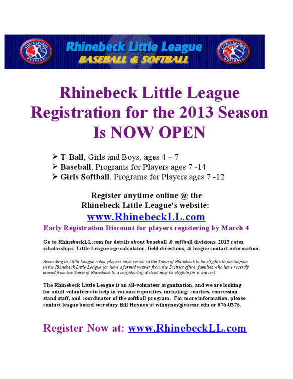 Registration is open now for Rhinebeck Little League