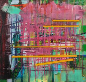 """Pink Grid,"" Oil on canvas, Joanne Lobotsky"