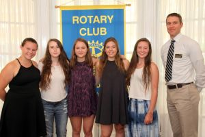 PHOTO COURTESY OF                                    www.sharpimagesphotographic.com PICTURED (left to right):                                               Morgan Rakow, Stella Funkhouser, Grace Steele, Anna Charny, and Rhinebeck Rotary president, Philip Meltzer