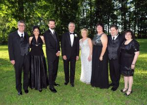 From left, hospital board chairman Kevin Sheehan, co-chairs Dr. Sharagim and Sean Kemp, honoree John Marvin, hospital president Denise George, honoree Dr. Angela Cavanna, and co-chairs Dr. Marc and Pamela Tack pose for a portrait at the Starlight Ball Saturday, June 13 at the Dutchess County Fairgrounds. By Al Nowak/On Location Studios